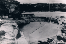 Bronte Pool and first dressing rooms in late 1800's