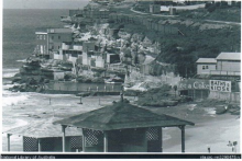 The old Bronte Clubhouse on cliffs above the pool. Swept away by storm waves in the 1960's and never replaced..