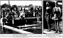 Feb 1921 - Finish of the 100 yard world record swim  at the Domain Baths  by  Miss Ethelda Bleibtrey (USA) with Minna Wiley second. Minna swam with the Eastern Suburbs Ladies Swimming Club at Bronte Pool